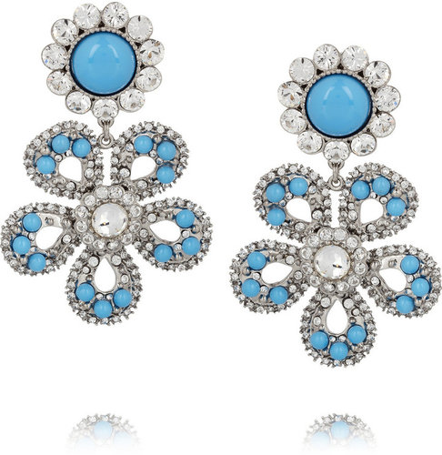 Miu Miu Swarovski crystal flower clip earrings
