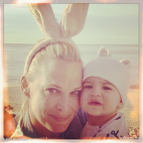 Molly Sims and her son, Brooks, sent their Easter wishes from Mexico. Source: Molly Sims on WhoSay