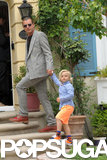 Gavin Rossdale and Zuma dressed up for Easter Sunday at the home of Gwen Stefani's mother in LA.