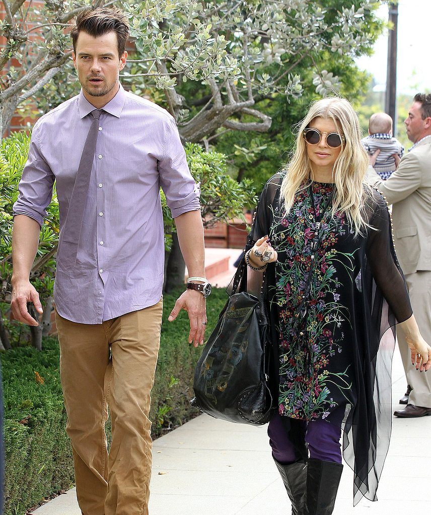 Josh Duhamel and pregnant Fergie went to church in Santa Monica, CA.