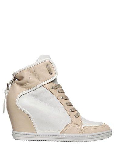 90mm Two Tone Calfskin Wedge Sneakers