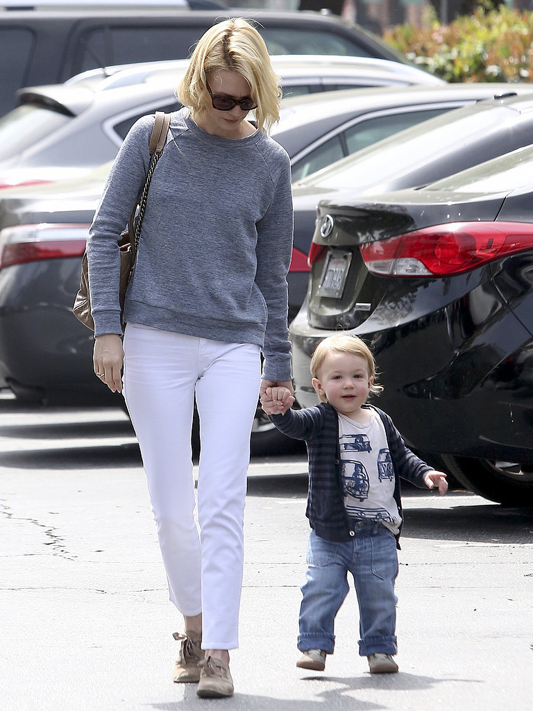 January Jones held her son Xander's hand as they headed to the car on Monday.