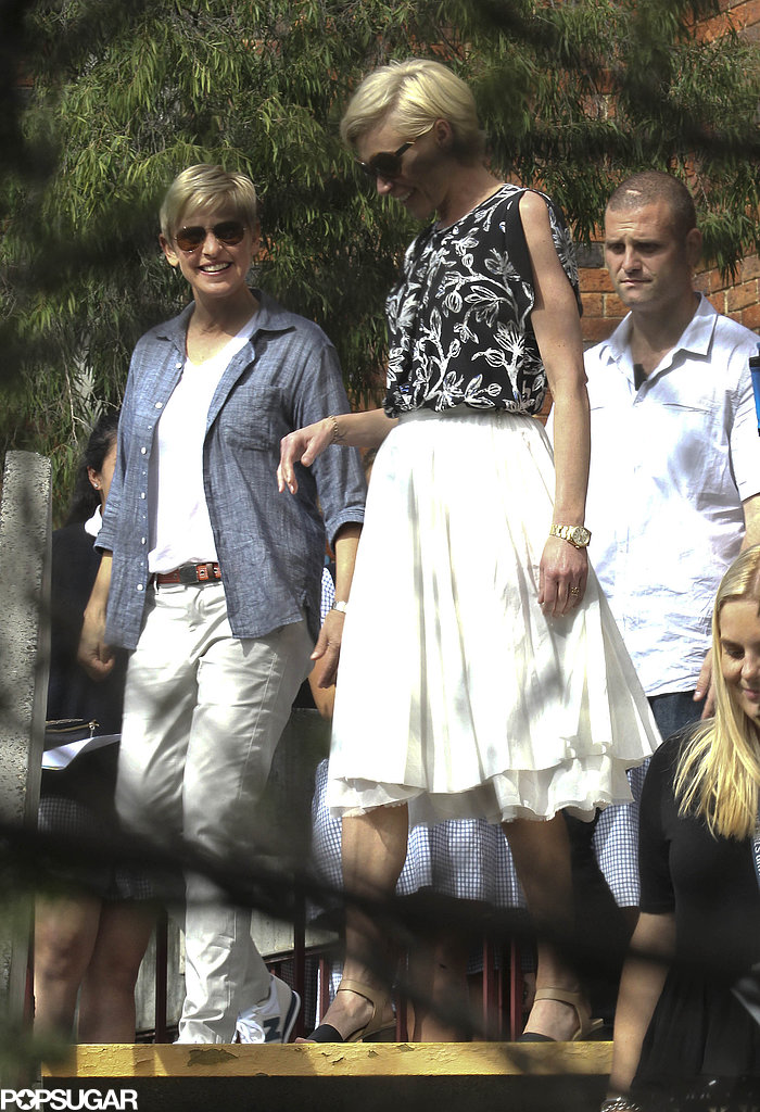 Ellen DeGeneres and Portia de Rossi visited Portia's old school in Melbourne.