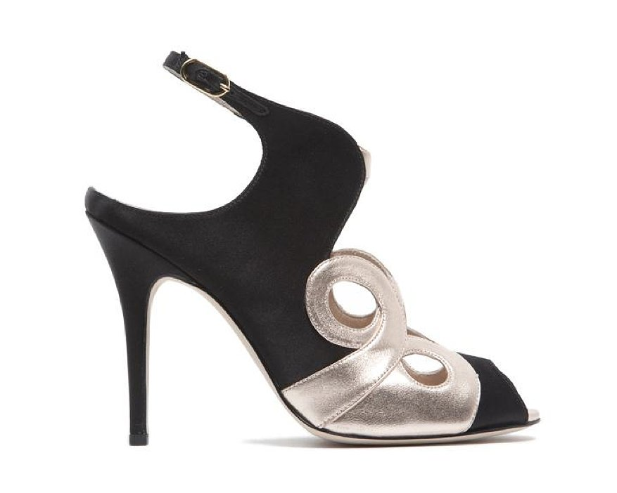 Monique Lhuillier Black Satin/Rose Gloss Lam Sandal ($890)