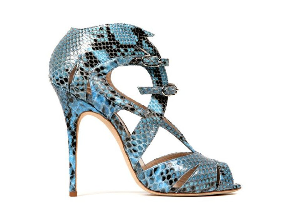 Monique Lhuillier Allover Blue Python Sandal ($1490)