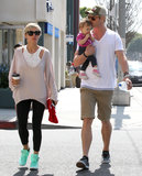 Chris Hemsworth planted a kiss on his daughter, India, after grabbing breakfast as a family with Elsa Pataky in LA.