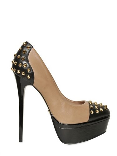 140mm Esme Studs Two Tone Leather Pumps