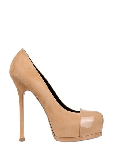 140mm Tribute Two Suede And Patent Pumps