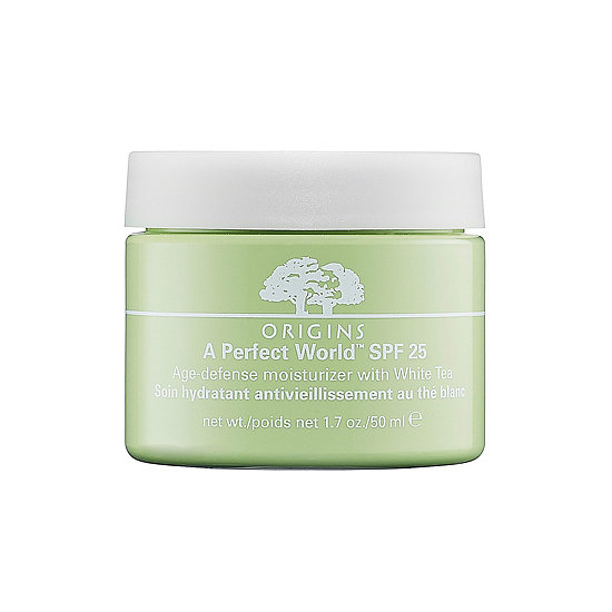 White tea, maritime pine, and SPF 25 create a lush cocktail in Origins Age-Defense Moisturizer ($40).