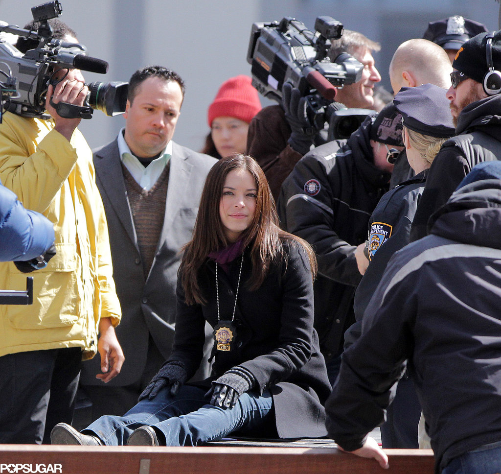 Kristin Kreuk took a seat on the set of Beauty and the Beast in Toronto on Monday.