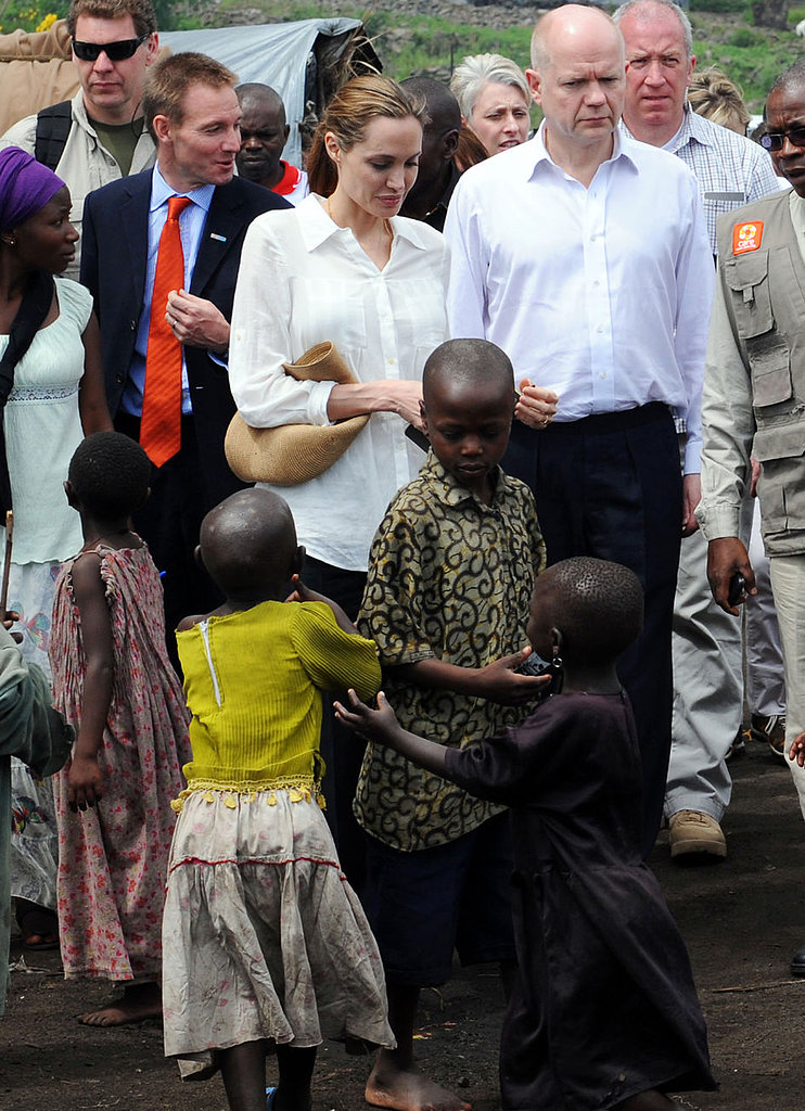 Angelina Jolie and William Hague toured the camp.