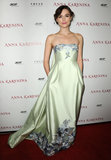 The actress looked lovely in a strapless floral-trimmed Erdem at the LA premiere of Anna Karenina.