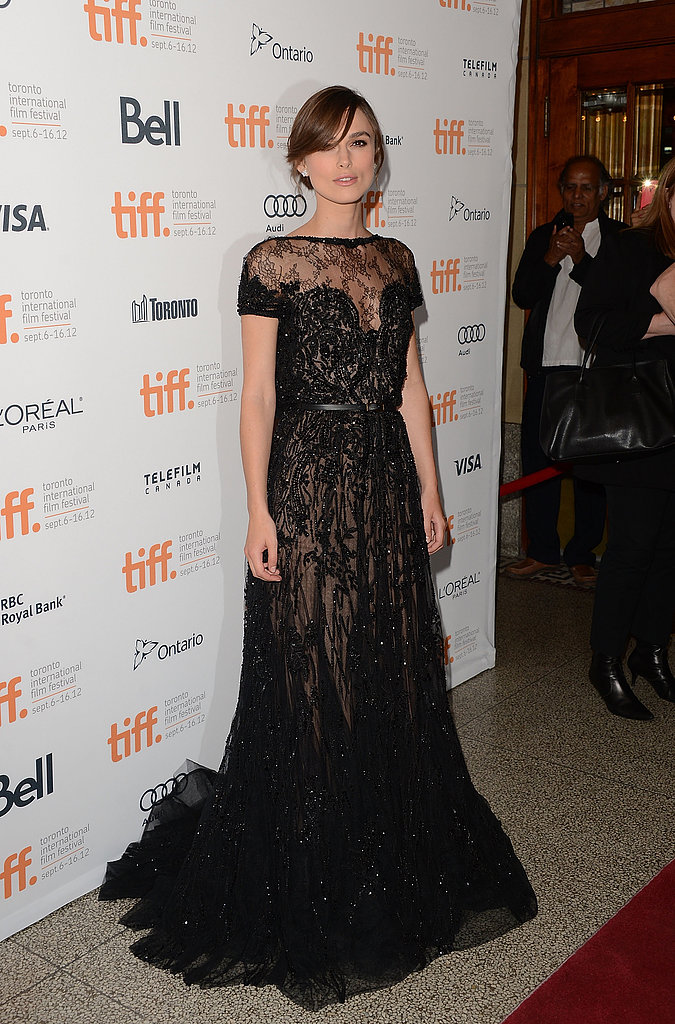 Keira dazzled in a black embellished Elie Saab gown at the Toronto Film Festival premiere of Anna Karenina.