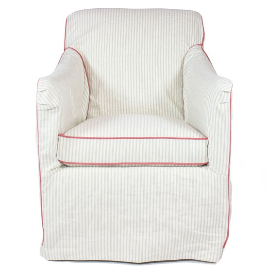 This striped swivel glider ($1,450) from Furbish Studio features soft stripes for a graceful nursery armchair.