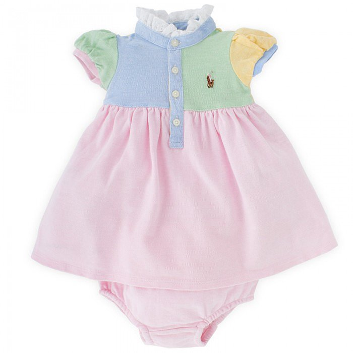 For a preppy, comfortable look, your little girl can sport Ralph Lauren's Pastel Patchwork Dress and Bloomers ($93).