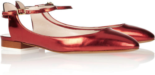 Chloé Mirrored-leather Mary Jane ballet flats