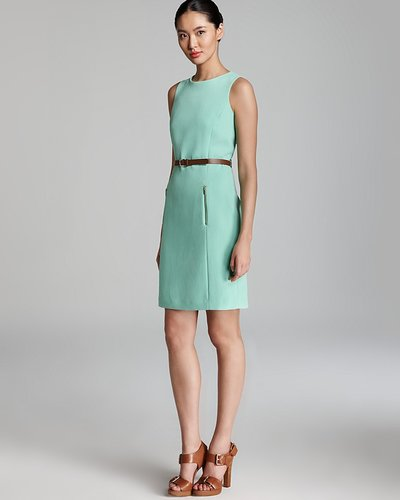 Anne Klein Dress Anne Klein Shift Dress - Sleeveless Belted
