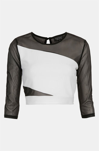 Topshop Mesh Slash Crop Top