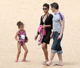 Halle Berry and Olivier Martinez took Nahla to the beach.