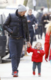 Harper Beckham showed off her walking skills with David Beckham in London.