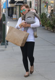 Hilary Duff carried a sleeping Luca Comrie to the car.