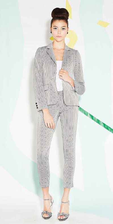 A striped suit is great for work and for the weekend. Play around with different accessories to give it a dressy or laid-back feel.