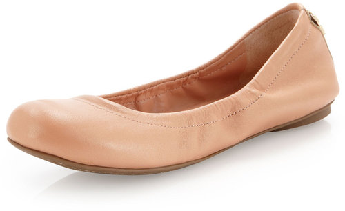 BCBGMAXAZRIA Molly1 Matte Leather Ballet Flat, Light Blush