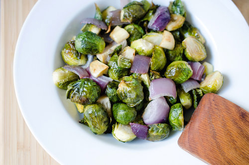 Roasted Red Onion and Brussels Sprouts
