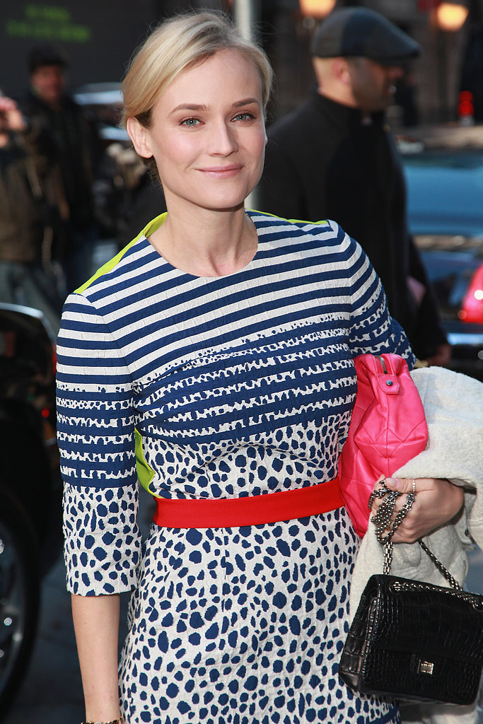 Diane Kruger wore a printed dress in NYC.
