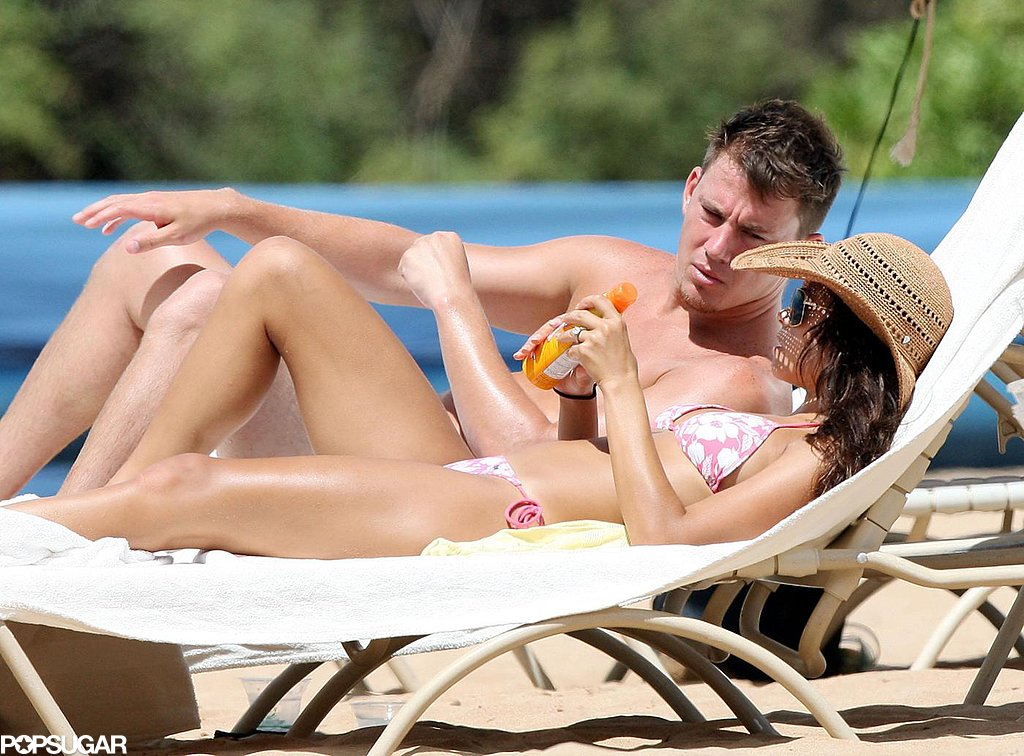 Channing Tatum and Jenna Dewan relaxed on the beach in Maui after getting engaged during their September 2008 visit to the island.