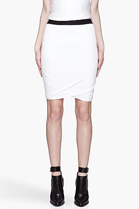 T BY ALEXANDER WANG White Pique Shiny Double Knit Twist Skirt