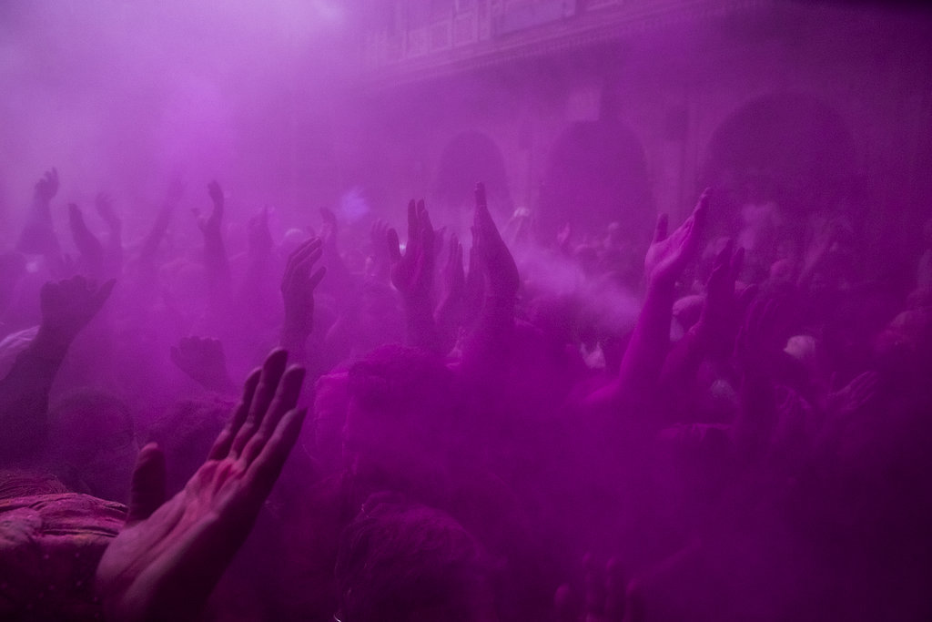 There was a cloud of purple at the Banke Bihari temple in Vrindavan, India.