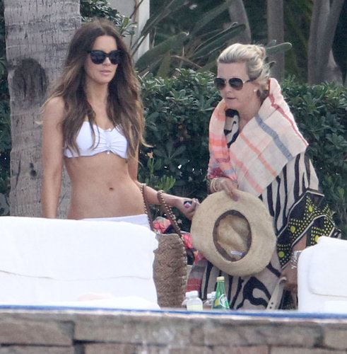 Kate Beckinsale was poolside in Mexico in white bikini in March 2013.
