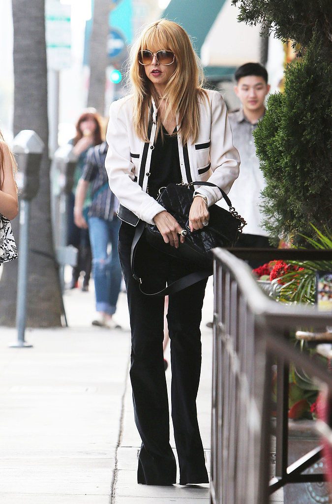 Rachel Zoe's cropped white jacket popped against her all black ensemble in Beverly Hills.