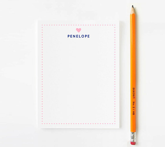 With a dotted border and a tiny heart, this personalized stationery ($18 for a set of 10) is perfect for your loving little one.