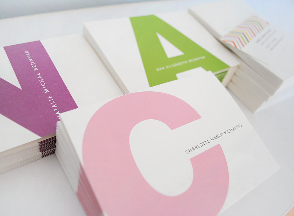A big, bright letter adorns these initial notes ($39 for a set of 20) for kids.