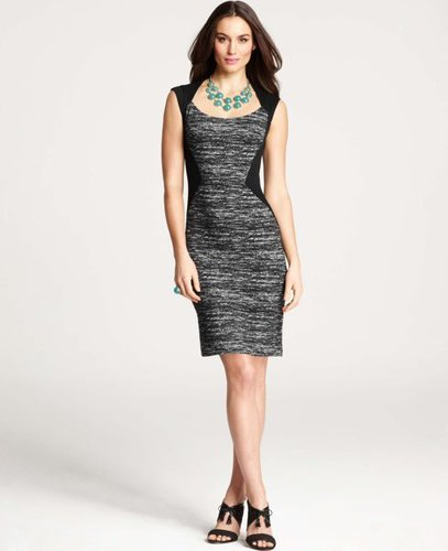 Tweed Print Angular Seamed Sheath Dress