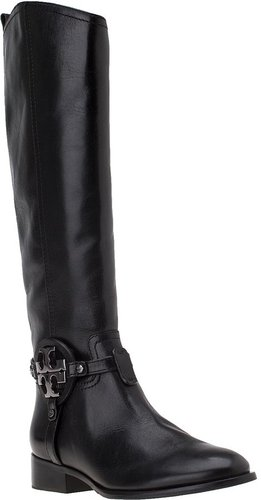 TORY BURCH Aaden Riding Boot Black Leather