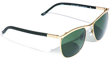 Linda Farrow For The Row Club master style metal and leather sunglasses