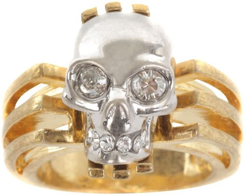 Gold Art Deco Skull Ring