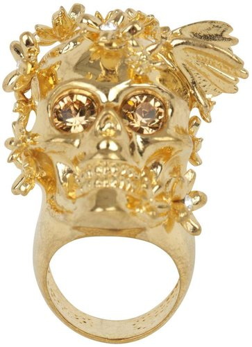 Gold/Amber Crystal Butterly Skull Ring