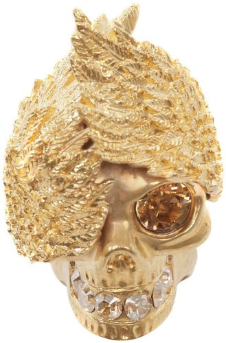 Gold Wings Skull Cocktail Ring