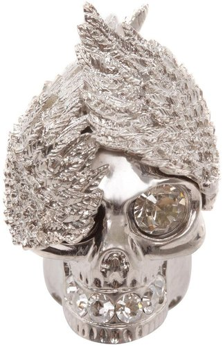 Silver Wings Skull Cocktail Ring