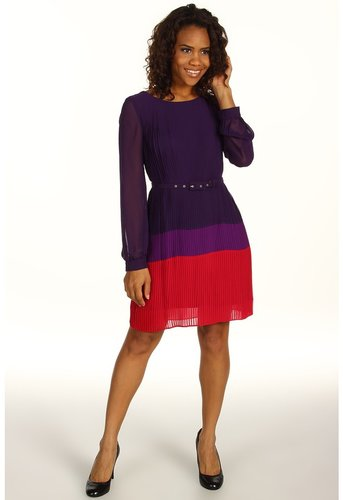 Jessica Howard - 1 Piece Long Sleeve Belted Colorblock Pleat Dress (Plum) - Apparel