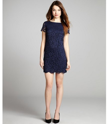 Cynthia Steffe navy blue short sleeve lace 'Reese' party dress