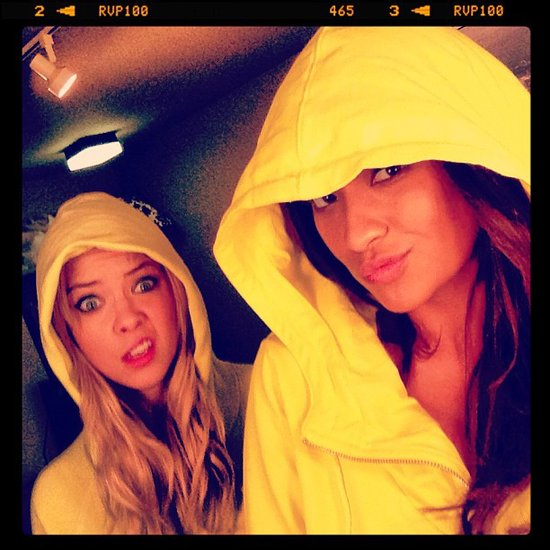 Shay Mitchell and Ashley Benson got protected in case of showers on the set of Pretty Little Liars. Source: Instagram user shaym