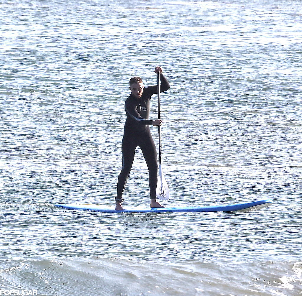Robert Pattinson went paddleboarding in Malibu.