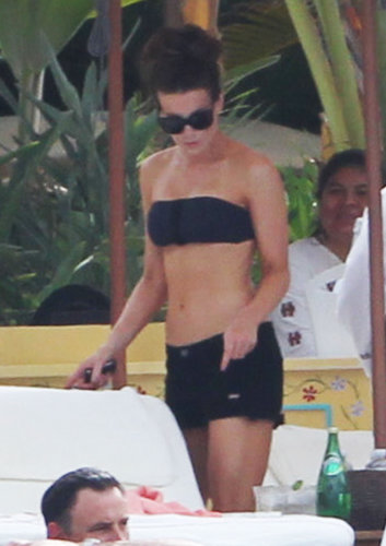Kate Beckinsale matched her black bandeau bikini top with black denim cutoffs in Cabo San Lucas in March.