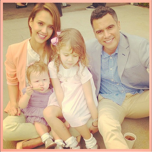 Jessica Alba's Family Does coordinating Pastels for Easter