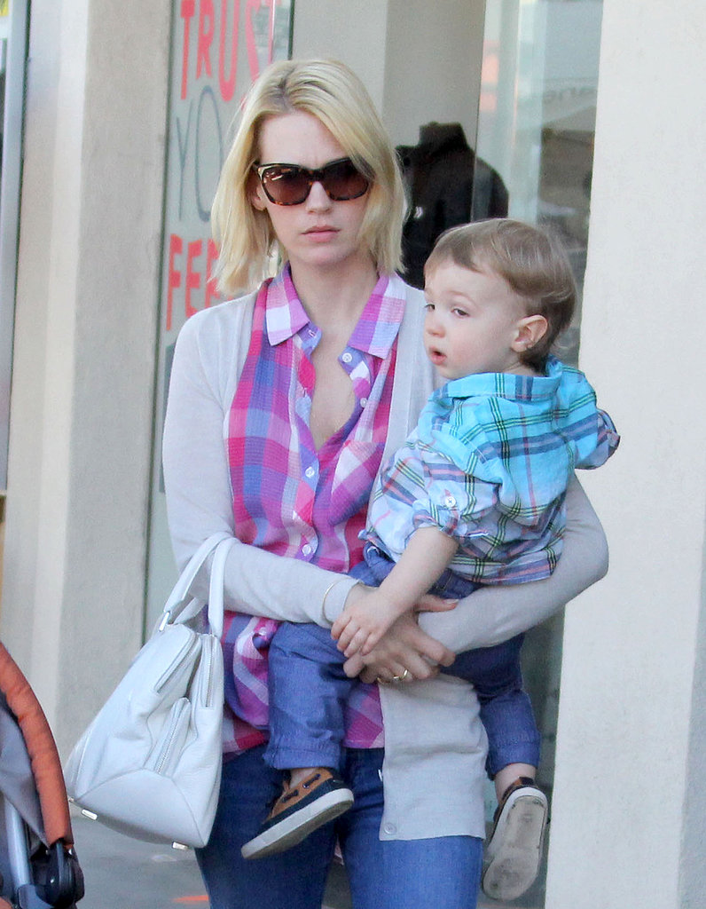 January Jones and her son Xander ran errands in LA together on Saturday.